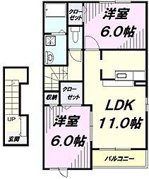 JR五日市線 武蔵増戸駅 徒歩14分の賃貸アパート 2階2LDKの間取り