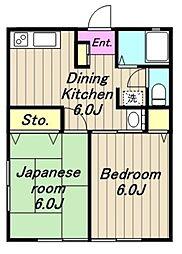 神奈川県相模原市緑区二本松1丁目の賃貸アパートの間取り