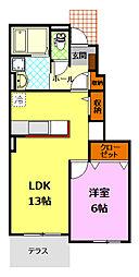 関東鉄道常総線 下妻駅 7.2kmの賃貸アパート 1階1LDKの間取り
