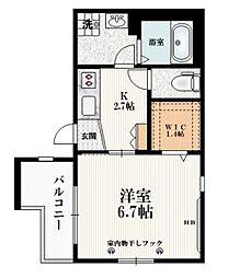 東武東上線 中板橋駅 徒歩10分の賃貸マンション 2階1Kの間取り
