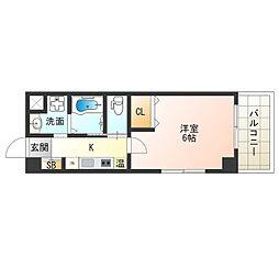京阪電鉄中之島線 中之島駅 徒歩7分の賃貸マンション 5階1Kの間取り