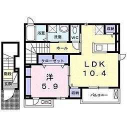 愛知県田原市東赤石2丁目の賃貸アパートの間取り
