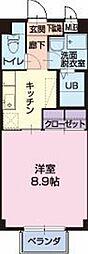 愛知県岡崎市福岡町の賃貸アパートの間取り