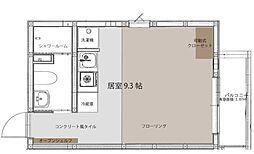京成本線 海神駅 徒歩8分の賃貸アパート 1階ワンルームの間取り