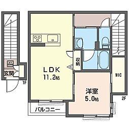 仮)八王子市子安町3丁目シャーメゾン 2階1LDKの間取り