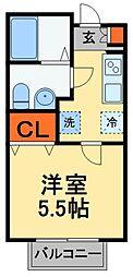 JR常磐線 北小金駅 徒歩13分の賃貸アパート 2階1Kの間取り