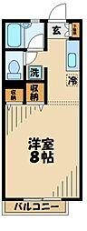 京王動物園線 多摩動物公園駅 徒歩5分の賃貸アパート 2階1Kの間取り