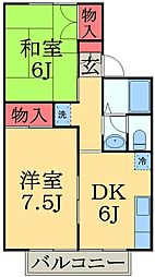 千葉県千葉市緑区おゆみ野5の賃貸アパートの間取り