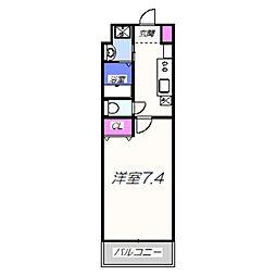 ヴィラペントハウス堺東 7階1Kの間取り
