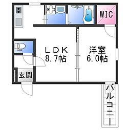 フジパレス田中町III番館 3階1LDKの間取り