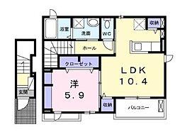 Hard Castle湘南III 2階1LDKの間取り