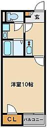 JR川越線 高麗川駅 徒歩8分の賃貸アパート 1階1Kの間取り