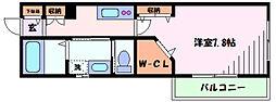 東急東横線 新丸子駅 徒歩5分の賃貸マンション 3階1Kの間取り