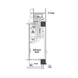 パークハビオ赤坂タワー 5階1Kの間取り