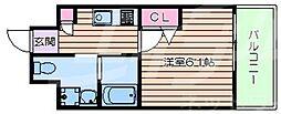 LiveCasa上新庄 9階1Kの間取り