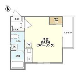 コンフォート聖蹟桜ヶ丘壱番館 2階1Kの間取り