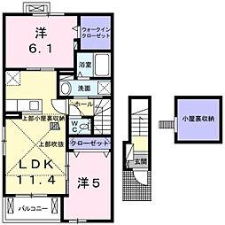 東急田園都市線 南町田グランベリーパーク駅 徒歩22分の賃貸アパート 2階2LDKの間取り