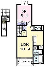 JR高崎線 北本駅 徒歩28分の賃貸アパート 2階1LDKの間取り