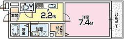 大阪府枚方市岡本町の賃貸アパートの間取り