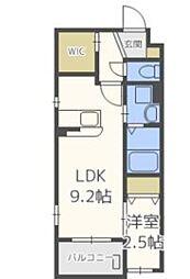 福岡市地下鉄空港線 唐人町駅 徒歩9分の賃貸マンション 1階1LDKの間取り