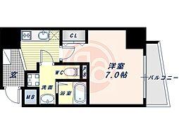 阪堺電気軌道上町線 松虫駅 徒歩3分の賃貸マンション 10階1Kの間取り