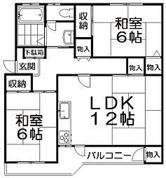藤阪ハイツD棟[4階]の間取り