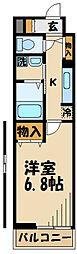 京王線 北野駅 徒歩7分の賃貸アパート 3階1Kの間取り
