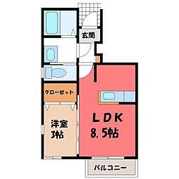 宝積寺M1 1階1LDKの間取り