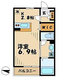 多摩都市モノレール 大塚・帝京大学駅 徒歩7分の賃貸アパート 1階1Kの間取り