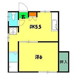 九十九沢アパート[101号室]の間取り