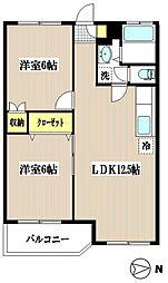 シャトレー新井 3階2LDKの間取り