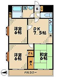 小田急多摩線 唐木田駅 徒歩4分の賃貸マンション 6階3DKの間取り