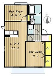 ガーデンハイツ内出[2階]の間取り
