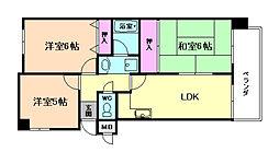 大阪府豊中市熊野町3丁目の賃貸マンションの間取り