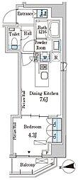 パークアクシス三番町 3階1DKの間取り