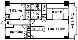 神奈川県平塚市中原2丁目の賃貸マンションの間取り