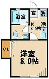 DOME-TAMA DD棟 1階1Kの間取り