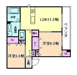 大阪府大阪市都島区都島北通1丁目の賃貸アパートの間取り