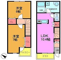 [テラスハウス] 千葉県市川市若宮1丁目 の賃貸【/】の間取り