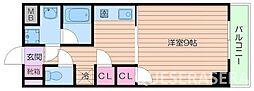 阪急千里線 千里山駅 徒歩14分の賃貸マンション 3階1Kの間取り