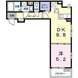 NISHIKAWA 2階1DKの間取り