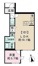 小田急小田原線 経堂駅 徒歩9分の賃貸アパート 1階1LDKの間取り
