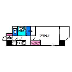 レオンコンフォート京橋 6階1Kの間取り