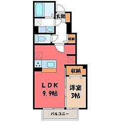 栃木県真岡市西郷の賃貸アパートの間取り