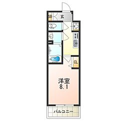 阪急京都本線 上新庄駅 徒歩3分の賃貸マンション 4階1Kの間取り