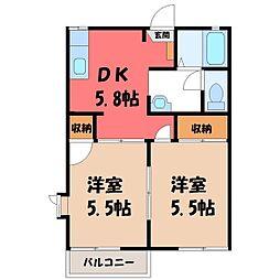 栃木県下野市大光寺2丁目の賃貸アパートの間取り