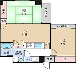 大阪府大阪市天王寺区上汐3丁目の賃貸マンションの間取り