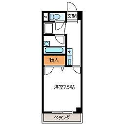 エトワールNAKAYAMAVIII 3階1Kの間取り