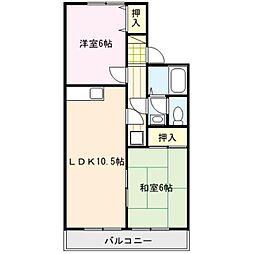 フラット高良台[2階]の間取り