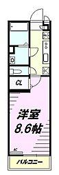 京王相模原線 京王堀之内駅 徒歩15分の賃貸マンション 1階1Kの間取り